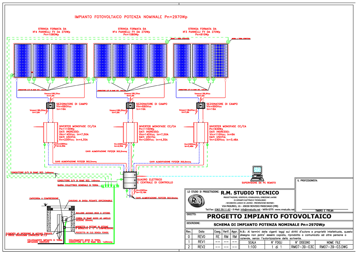 Schema Elettrico Unifilare Impianto Fotovoltaico 3 Kw : I nostri lavori r m studio tecnico